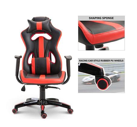 כיסא גיימרים אורתופדי עשוי דמוי עור עם מבנה אורגמי המקנה תמיכה לכל הגוף  - משלוח חינם - תמונה 7