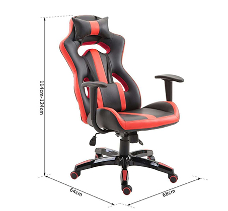 כיסא גיימרים אורתופדי עשוי דמוי עור עם מבנה אורגמי המקנה תמיכה לכל הגוף  - משלוח חינם - תמונה 5