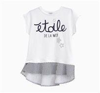 חולצה קצרה לילדות בצבע לבן עם הדפס אותיות