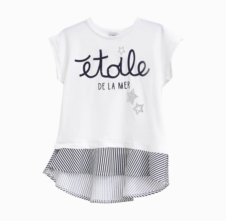 חולצה קצרה OVS לילדות - לבן עם הדפס אותיות