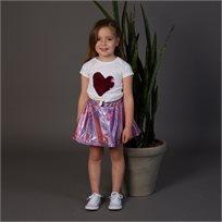 חולצת ORO לילדות (מידות 2-7 שנים) לבן לב פייטים