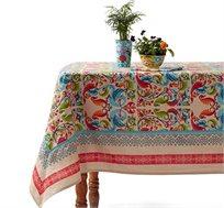 מפת שולחן מודפסת דגם Vista בגוון בז' עשויה 100% כותנה Ginger