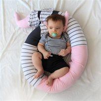 נחשוש למיטת תינוק, נחשוש פיל, מגן ראש למיטת תינוק בוורוד שמנת ואפור