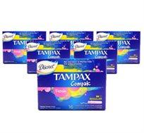 """6 מארזי טמפונים Tampax Compak Regular רק ב-₪69, מחיר ליחידה ₪11.5 סה""""כ 96 יחידות"""