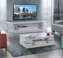 סט שולחן לסלון ומזנון טלויזיה דגם לביא LEONARDO בגוון לבן מבריק וקלאסי