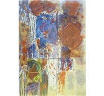 """""""מופשט בכחול"""" - ציורו של סטימצקי אביגדור, ליטוגרפיה בחתימה אישית בגודל 87X64 ס""""מ"""
