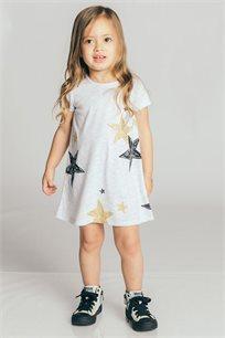 שמלת טריקו בהדפס כוכבים לבנות Kiwi בצבע אפור בהיר
