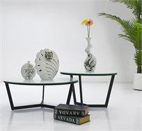 זוג שולחנות לסלון בשילוב מתכת וזכוכית מחוסמת דגם ARMIN