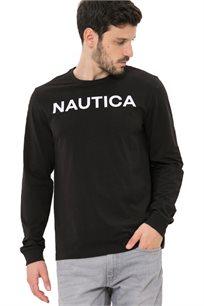 חולצת טי שרט ארוכה Nautica עם צווארון עגול לגברים דגם 93901V0TB בצבע שחור