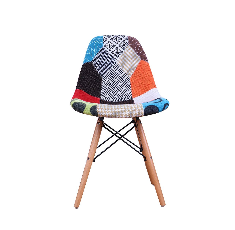 כיסא מרופד נוח ומעוצב בתפירה צבעונית בדוגמאת טלאים עם רגלי עץ - תמונה 2