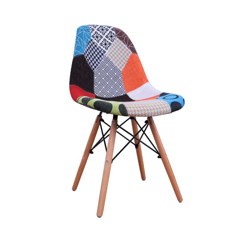 כסא מרופד בעיצוב טלאים צבעוניים לפינות האוכל
