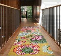 שטיח ראנר עבודת יד פרחי אביב במגוון גדלים לבחירה