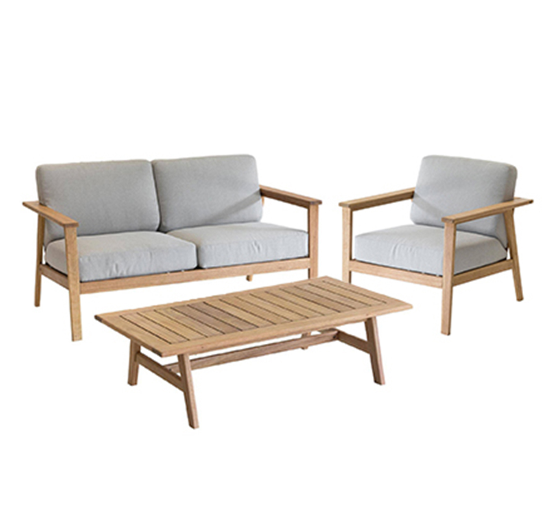 מערכת ישיבה בעלת ריפוד עבה וחזק לגינה או למרפסת מעץ דגם BARCELONA - תמונה 2