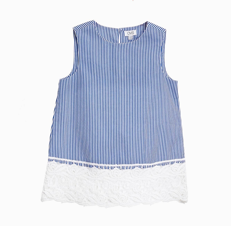חולצת פסים OVS לילדות עם סיומת תחרה בצבעי כחול/לבן