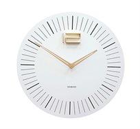 שעון קיר קלאסי בצבע לבן בשילוב עץ ומתכת