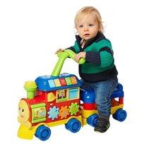 הליכון לימודי לתינוק בצורת רכבת 3 ב 1 דובר עברית