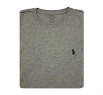 חולצת טישרט בצבע אפור חלקה צווארון עגול POLO RALPH LAUREN