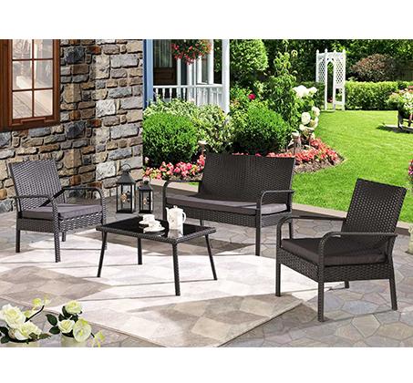 מערכת ישיבה מראטן 4 חלקים לחצר הכוללת שולחן, כסא דו מושבי וזוג כסאות דגם פאטיו - תמונה 4