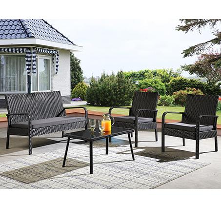 מערכת ישיבה מראטן 4 חלקים לחצר הכוללת שולחן, כסא דו מושבי וזוג כסאות דגם פאטיו - תמונה 3