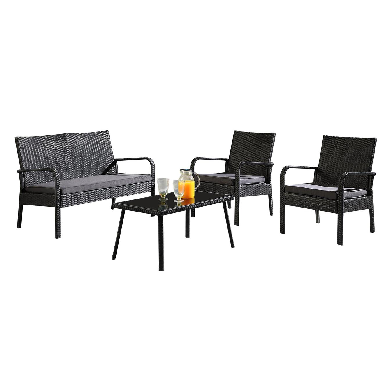 מערכת ישיבה מראטן 4 חלקים לחצר הכוללת שולחן, כסא דו מושבי וזוג כסאות דגם פאטיו - תמונה 2