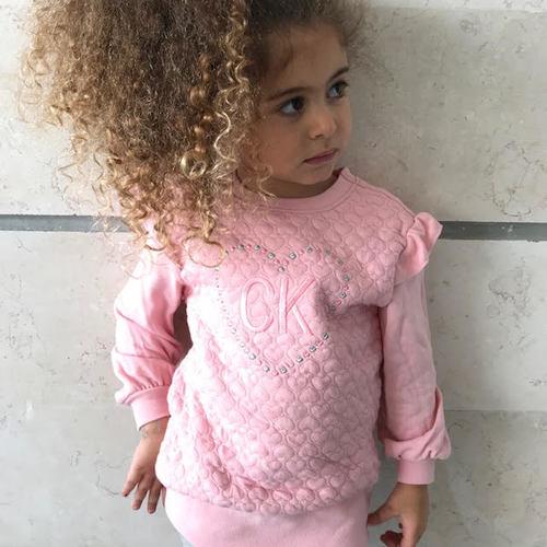 Calvin Klein חליפת רקמה (4-2 שנים) - ורוד
