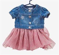 שמלת ג'ינס לתינוקות עם חצאית קפלים בצבע ורוד