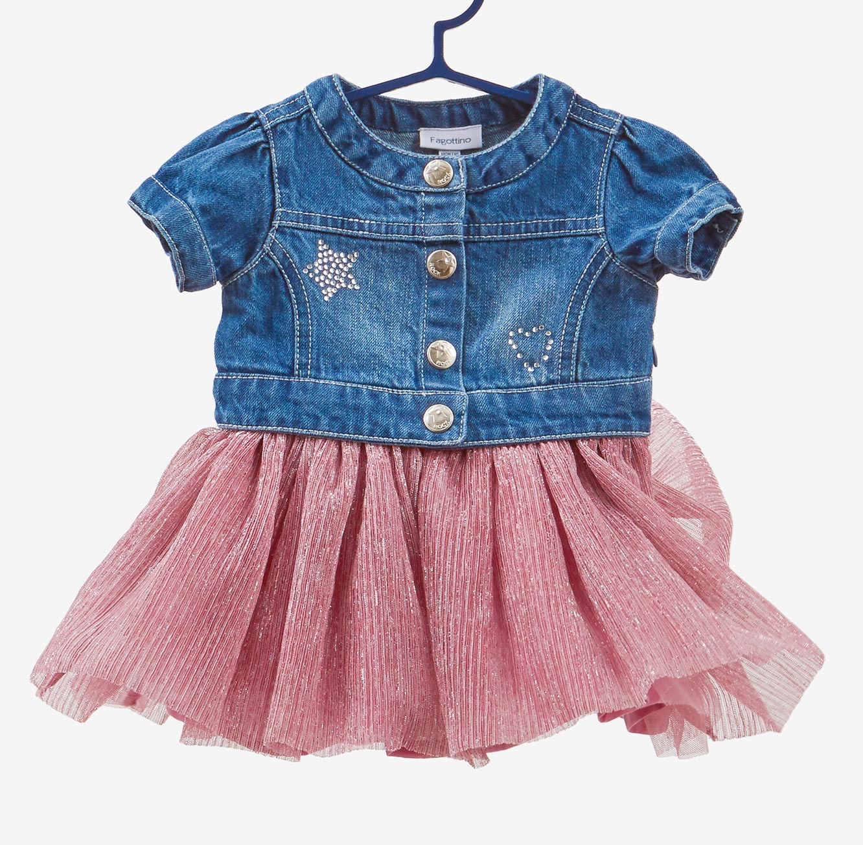 שמלת ג'ינס OVS לתינוקות עם חצאית קפלים ורודה