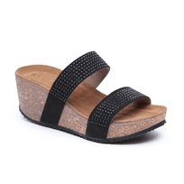Seventy Nine - נעלי פלטפורמה שחורות עם רצועות בעיטור ניטים
