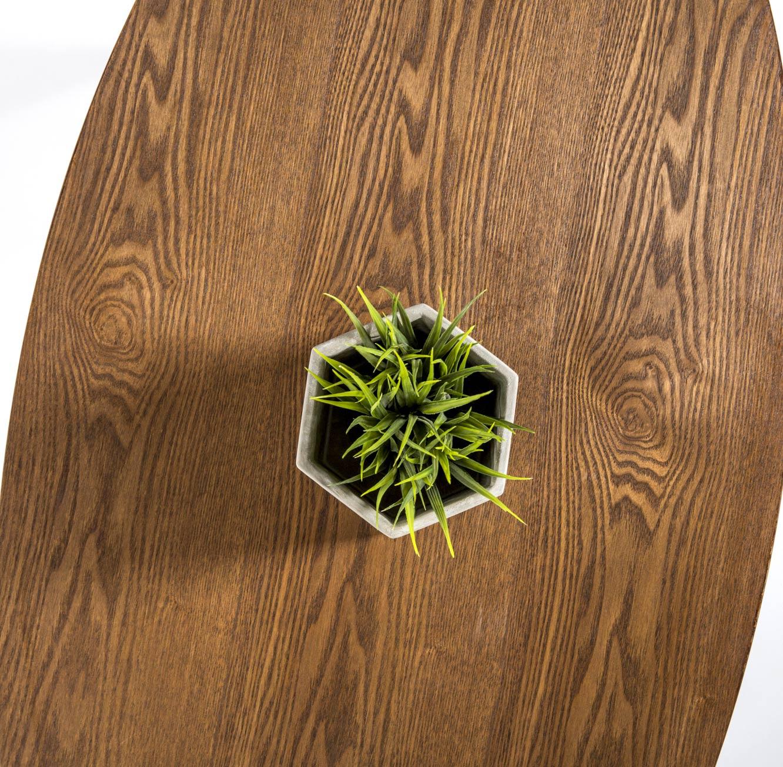 שולחן קפה מעץ לסלון בסגנון מודרני בצורת אליפסה בצבע אגוז  - תמונה 3