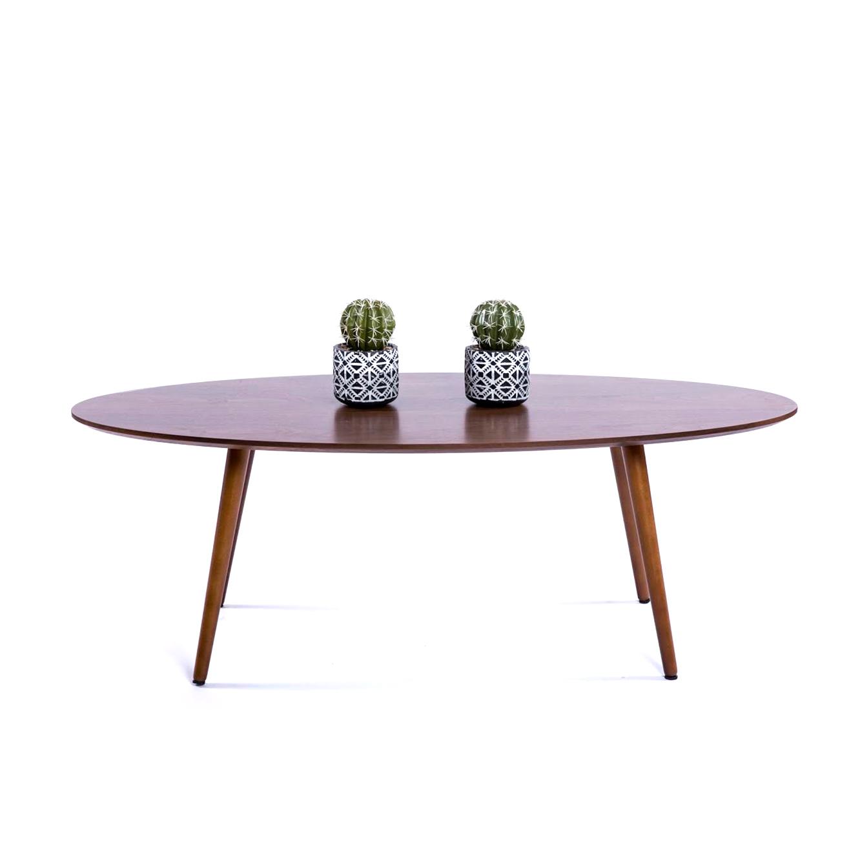 שולחן קפה מעץ בסגנון מודרני בצורת אליפסה