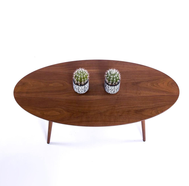 שולחן קפה מעץ לסלון בסגנון מודרני בצורת אליפסה בצבע אגוז  - תמונה 2