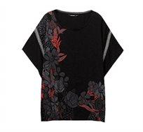 חולצת אוברסייז בהדפס פרחוני לנשים Desigual דגם Donna בצבע שחור