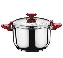 סיר להכנת פסטה 5.5 ליטר עם מכסה זכוכית נירוסטה ידיות אדומות SOLTAM