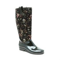 Desigual Rainy  Boot Sporty Militia - מגף דיזיגוואל שחור לנשים בגובה הברך בצבע שחור בדוגמת פרחים