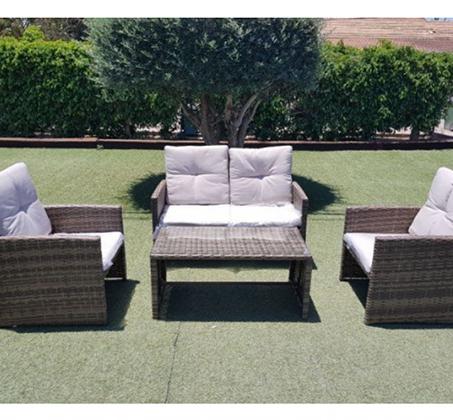 מערכת ישיבה מודרנית דמוי ראטן לגינה ולחצר הכוללת כורסא דו מושבית, זוג כורסאות יחיד ושולחן דגם רקפת