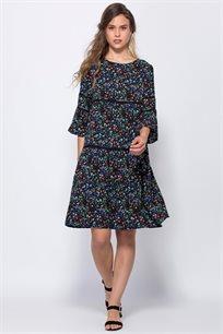 שמלה פרחונית במראה קומות עיטורי תחרה