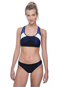 טופ ביקיני עם כתפיות רחבות Free Sport לאישה בצבע שחור/כחול