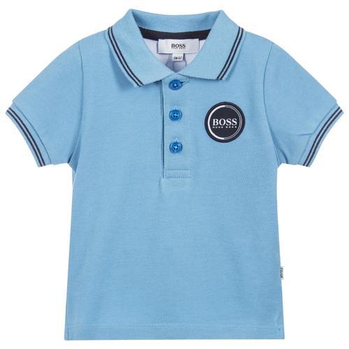 Boos חולצה (9-3 חודשים )  פולו תכלת לוגו בצד