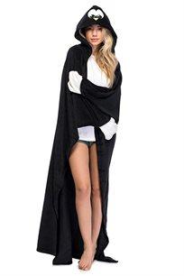 שמיכת פלאפי פינגווין לנשים - שחור לבן