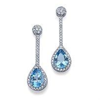 עגילי יהלומים וטופז 5.12 קראט כחולות בחיתוך טיפה