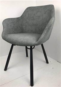 כיסא מעוצב דגם מג'יק מבד קטיפה איכותי צבע אפור רגליים שחורות