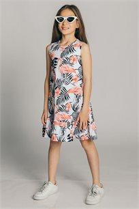 שמלת גופייה טריקו בהדפס פלמינגו לילדות Kiwi בצבע לבן
