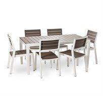 שולחן הרמוני 160 מסגרת לבנה כולל 6 כסאות ללא מסעדי ידיים - משלוח חינם