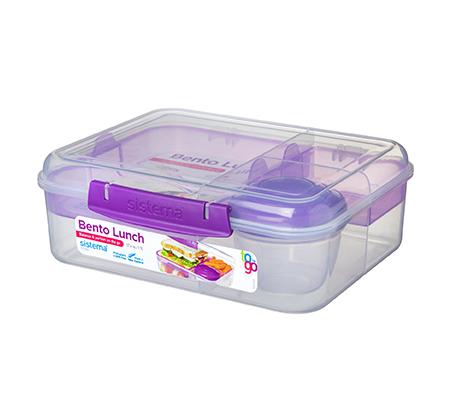 קופסא שקופה בנטו מחולקת 1.65 ליטר עם מיכל תוספות