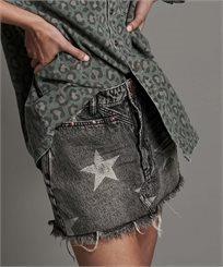 חצאית וואן טיספון שחור לנשים - ONE TEASPOON CAMDEN STAR TRUCKER