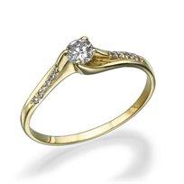 """טבעת אירוסין זהב צהוב """"נינה"""" 0.31 קראט בסגנון טוויסט מעודכן"""
