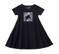 שמלה מסתובבת חד קרן מבריק בצבע שחור