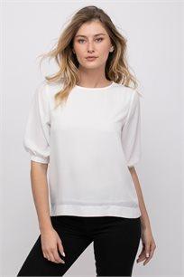 חולצת אריג עם שרוולי בלון ומכפלת אסימטרית