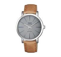 שעון יד אנלוגי לגבר Q&Q בצבע קאמל/אפור