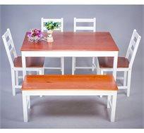 שולחן פינת אוכל BRADEX כולל 4 כיסאות מעץ מלא וספסל ישיבה בעיצוב אלגנטי